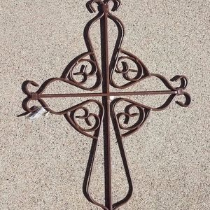Brown Ornamental Cross Curly Metal Wall Decor